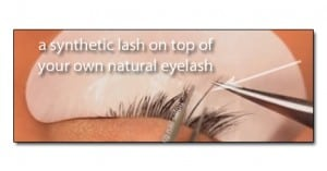 Eyelash Extensions- Synthetic lash is applied to natural lash