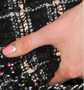 french manicure nails regina - reverse french manicure nails - pink with silver cuticle