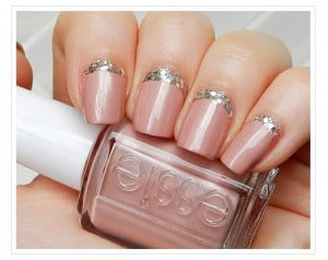 french manicure nails regina - reverse french manicure pink with sparkle cuticle