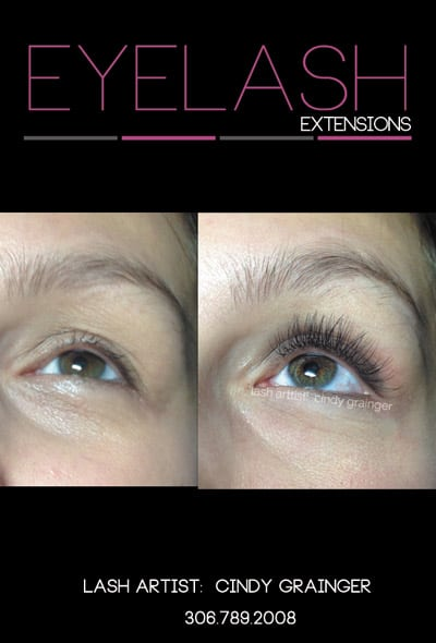 Falon before and after Eyelash Extensions Regina, Sk.