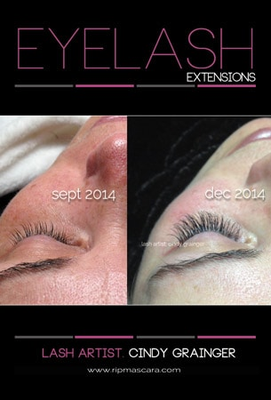Carol D before and after eyelash extensions closed eye