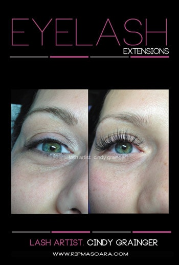 Eyelash Extensions before after for Bride Kaylin from Regina