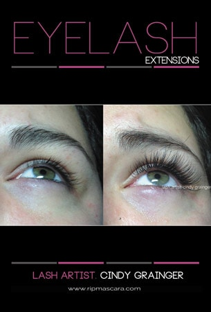 Melissa before and after eyelash extensions