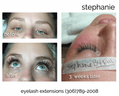 eyelash extensions stephanie before after lash fill - CG