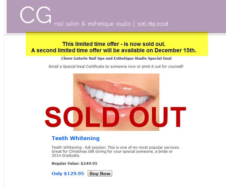 teeth whitening december 15th sold out