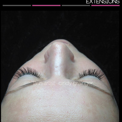 Eyelas Extensions Regina before and after, Dana with closed eye December 2014