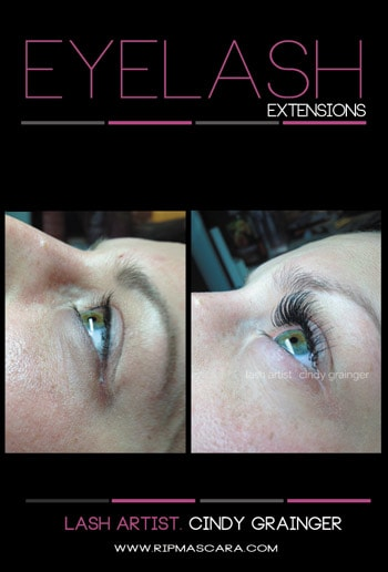 Side view of Bride's Eyelash Extensions before and after