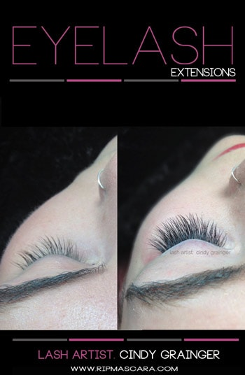 mckenzi before and after eyelash extensions closed eye